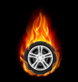 car wheel on fire on black vector image vector image