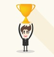 Businessman holding winning trophy long shadow vector image