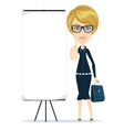 Business woman showing thumbs up vector image