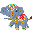 Cartoon elephant with indian classic traditional vector image