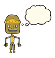 funny cartoon robot with thought bubble vector image
