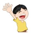 happy smiling boy waving icon vector image