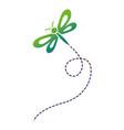 cute flying dragonfly natural animal vector image