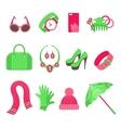 Feminine accessories icons set vector image