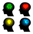 head icons with idea symbols vector image