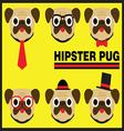 Hipster Pug Flat Cartoon vector image