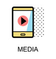 mobile phone icon for media on white background vector image