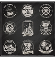 Pirate emblems blackboard chalk set vector image