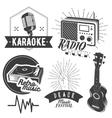 set of karaoke and music labels in vintage vector image