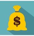 Money sack icon flat style vector image