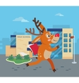 Deer Running to School with Books Reindeer vector image