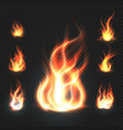 realistic orange and red fire flames fireballs vector image