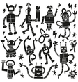 Robots - doodles set vector image