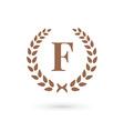 Letter F laurel wreath logo icon vector image