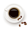 black coffee cup and beans vector image vector image