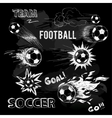 Chalk sketch of football ball and elements vector image