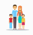 family happy smiling parents with two kids vector image
