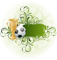 Grunge floral football card with ball and prize vector image