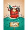 Holiday card with Santa Claus gifts and reindeer vector image