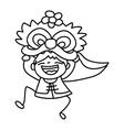 kid dancing dragon mask Happy Chinese New Year vector image