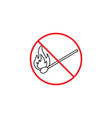 no fire line icon no open flame red prohibited vector image