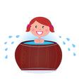 woman in cold barrel vector image