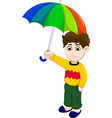 cute boy cartoon holding umbrella vector image