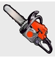 Electric chainsaw with red handle closeup vector image