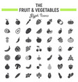 fruit and vegetables glyph icon set food symbols vector image