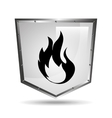 symbol fire icon shield steel design vector image