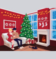 young couple on sofa and cat in decorated guest vector image