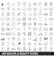 100 health and beauty icons set outline style vector image
