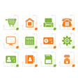 stylized business office and website icons vector image vector image