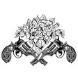 guns with flowers vector image