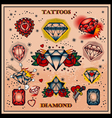 diamond tattoos vector image