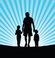 children with dad in nature silhouette vector image