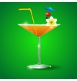 Cocktail Glass with straw and flower vector image