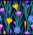 floral seamless pattern with crocuses vector image