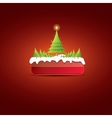 Christmas red button with christmas tree vector image