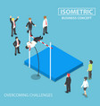 isometric businessman doing the pole vault vector image