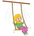A girl at the swing vector image