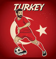 turkey soccer player with flag background vector image