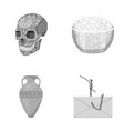 skull bowl of cottage cheese and other monochrome vector image