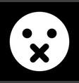 silence emoticon white color icon vector image