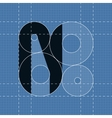 Round engineering font Symbol N vector image