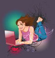 woman laptop vector image