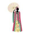 Chinese girl umbrella vector image