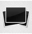 Empty photo frames on transparent checkered vector image