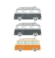 Set of Retro vintage travel camper vans vector image