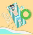 tourist man lying on beach top angle view hello vector image